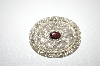+MBA #6-1333  Vintage Silver Plated Oval Garnet Pin