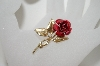 +MBA #6-1363  Vintage Gold Plated Rose Pin