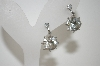 **MBA #6-1423  Coro Silver Tone Clear Rhinestone Screw Back Earrings