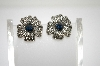 **MBA #6-1389  Vintage Silver Tone Blue Rhinestone Flower Clip On Earrings