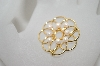 +MBA #6-1353  Vintage Gold Plated Faux Pearl Pin