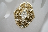 +MBA #6-1470  Vintage Gold Tone Clear Rhinestone Pin