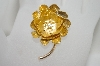 +MBA #6-1478  Vintage Gold Plated Flower Pin