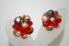 **MBA #6-1019  Vintage Silver Tone Orange Crystal & Bead Clip On Earrings