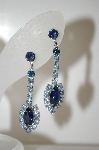 **MBA #6-1139  Vintage Silver Tone Blue Rhinestone Dangle Earrings