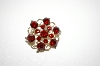 +MBA #6-1216  Vintage Gold Tone Red Rhinestone Pin