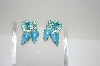 **Vintage Blue Stone & Rhinestone Cip On Earrings