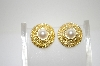 +MBA #6-1290  Vintage Gold Tone Faux Pearl Clip On Earrings