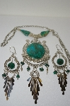 +MBA #6-1148  Preruvian Green Turquoise Nectlace & Matching Earrings