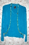 MBA #5-1909   'Citiknits Jade Green Beaded Fringe Bolero Jacket & Scoop Neck Tank