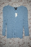 "MBA #5-1923  "" Cabe & Guage Pitites Blue Button Front Cardigan"