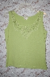 Prickly Light Green String Embelished Tank