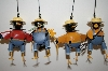 +MBA #5-1609D  Set Of 4 Metal Farmer Crow Collecta Bell Ornaments