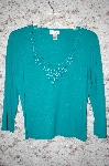 **Creda Green Rayon Hand Beaded Long Sleve Top