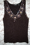"MBA #5-1890  "" Designer Items Black Knit Fancy Embelished  V-Neck Tank"