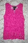 "MBA #5-1881  "" Designer J.A.C. Pink Crochet Tank With Solid Pink Liner"