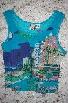 "MBA #5-1878  ""Designer ""Take Two Clothing Company"" Blue Embelished Art Work Tank"