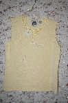 "+MBA #5-1842   ""StoryBook Knits Limited Edition Light Yellow Floral & Bead Embelished Tank"