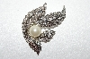 **MBA #1654  Nickel Plated Pearl Feather Crystal Brooch/Pendant Combo