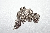 Rhodium Plated Flower Leaf Clear Crystal Brooch