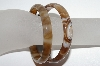 **MBA #1663  Set Of 2 Adult Size Brown Agate Bangle Bracelets