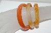 **MBA #1667  Set Of 3 Orange Agate Bangle Bracelets