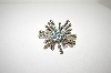 **MBA #1634  Nickel Plated Clear & Blue Crystal Starburst Brooch/Pendant Combo