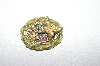 **MBA #5-1640  Gold Plated Green & Pink Floral Butterfly Brooch/ Pendant Combo
