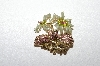 **MBA #5-1646  Gold Plated Green & Pink Crystal Floral Brooch / Pendant Combo