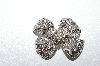 **MBA5  # -1649  Rhodium Plated Clear Crystal Bow Brooch