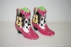 ** 2000 Pink Cowboy Boots & Guitars Salt & Pepper Shakers