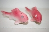 ** Pair Of Vintage Pink Fish Salt & Pepper Shakers