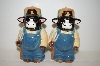 "**Set Of Large ""Farmer Cow"" Salt & Pepper Shakers"