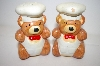 ** Vintage Chef Brown Bear Salt & Pepper Shakers