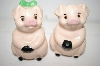 ** Vintage Boy & Girl Pig Salt & Pepper Shakers