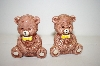 ** Vintage Baby Bears With Bowties Salt & Pepper Shakers
