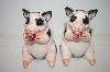 "**""PD"" Pink & Black Pig Salt & Pepper Shakers"