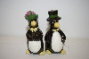 ** Vintage Black Penguins Salt & Pepper Shakers
