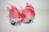 ** Vintage Small Pink Fish Salt & Pepper Shakers