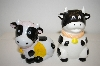 ** Pair Of Black & White Cows With Yellow Bows Salt & Pepper Shakers