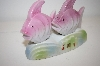 ** Vintage Pink Fish On a Stand Salt & Pepper Shakers