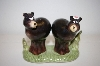 **  2003 Girl & Boy Black Bear Salt & Pepper Shakers On Stand