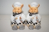 **1999 Ceramic Pig Chefs Salt & Pepper Shakers