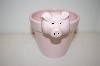 """SOLD""  ** 1998 Small Ceramic Pink Pig Flower Pot"