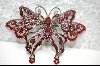 **Pink & Red Crystal Butterfly Pendant