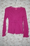**MBA #34-004  Mauve Thclia  Cotton Long Sleve Top With Crochet Trim