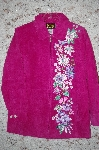 "MBA #34-025  ""Pink Bob Mackie Floral Embroidered Suede Coat"