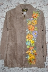 "MBA #34-022   ""Tan Bob Mackie Floral Embroidered Suede Coat"
