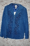 "MBA #34-070   ""Denim Blue Nolan Miller Beaded Floral Embroidered Fully Lined Suede Jacket"