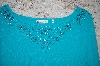 Turquoise Felicity Square Neck Bead Embelished Sweater